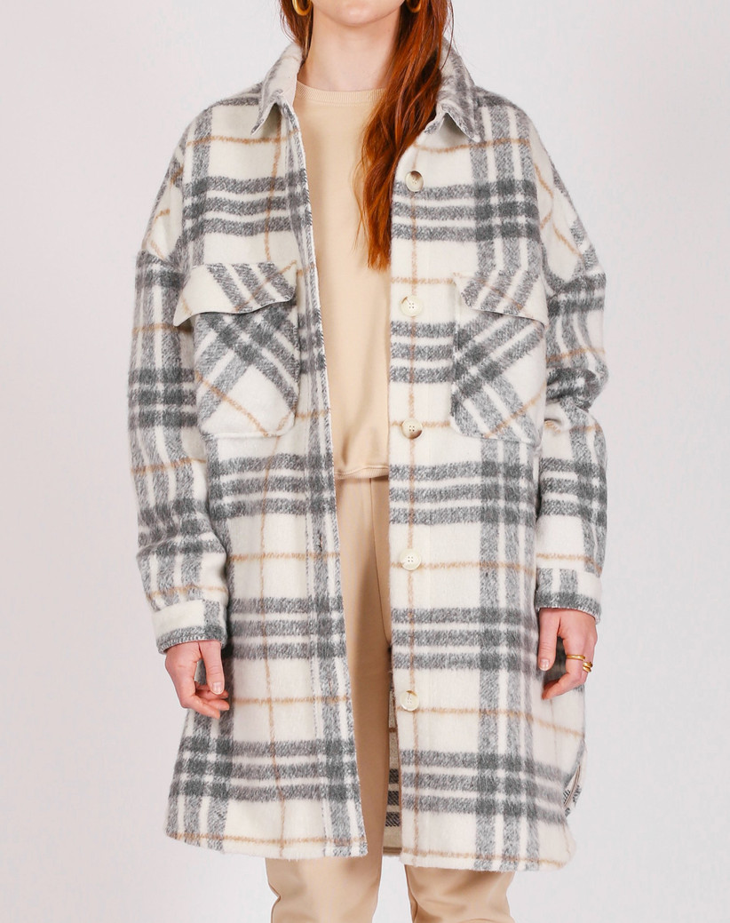 Long plaid shacket gift for sister-in-law