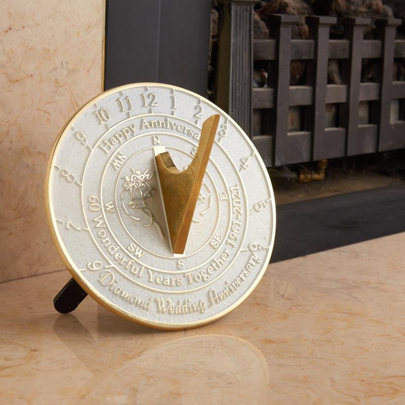 60th anniversary diamond anniversary sundial gift