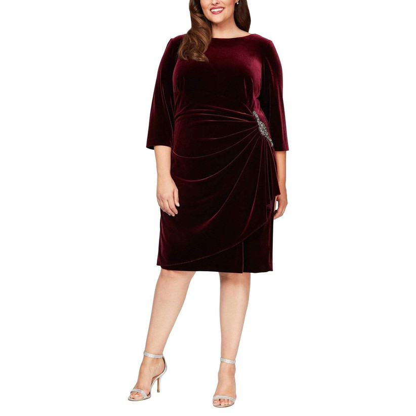 Burgundy velvet midi dress plus-size winter wedding guest dress