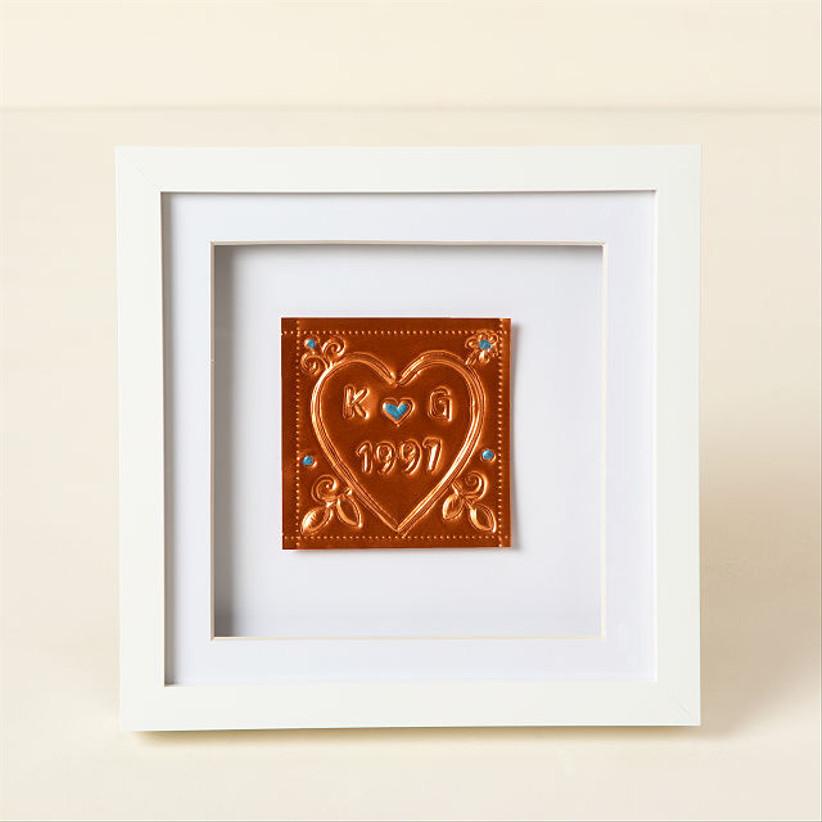 10 year anniversary gift idea custom aluminum framed art with couple initials