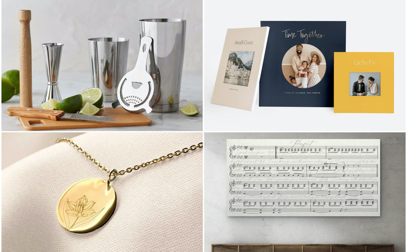 collage of 10 year anniversary gift ideas including bar tool set, custom photo book, gold daffodil necklace, and song lyric sheet music wall art