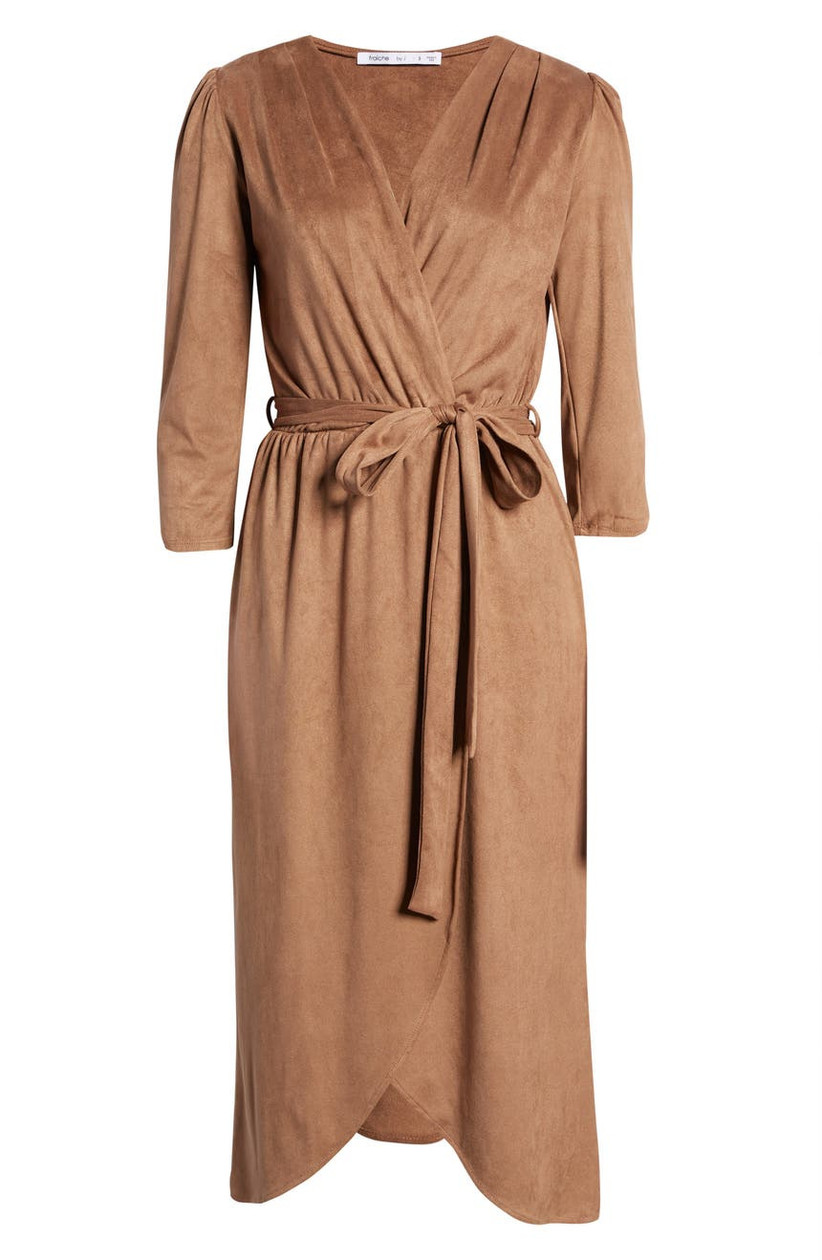 Faux suede taupe midi dress