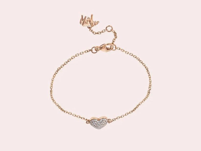 Heart charm pavé diamond bracelet