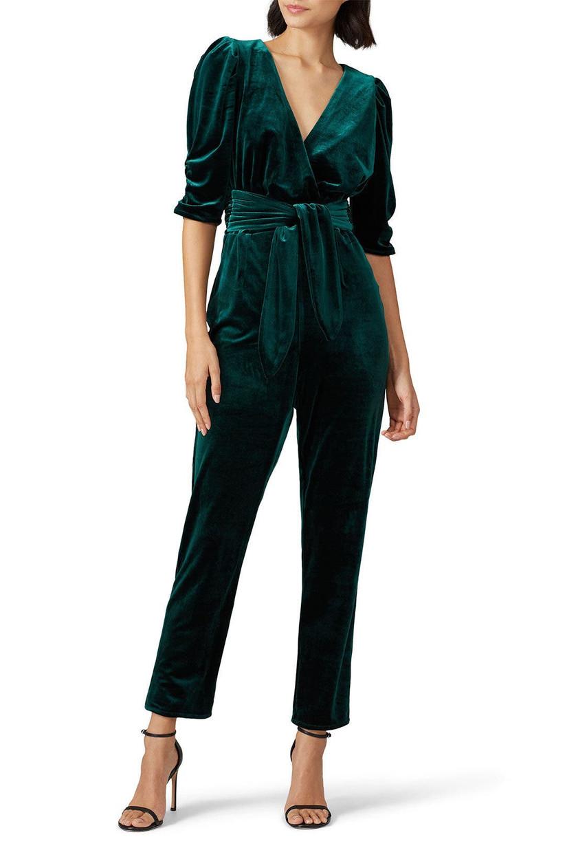 Emerald green velvet jumpsuit