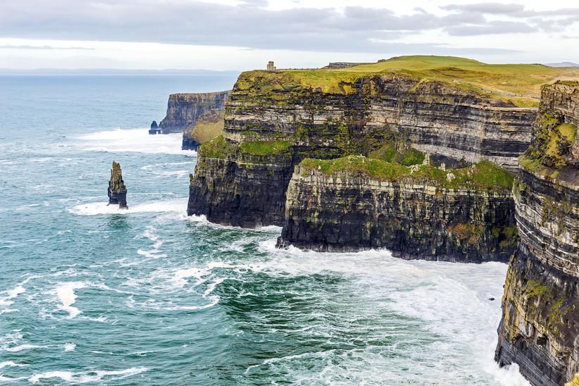 Cliffs of Moher and ocean in Ireland
