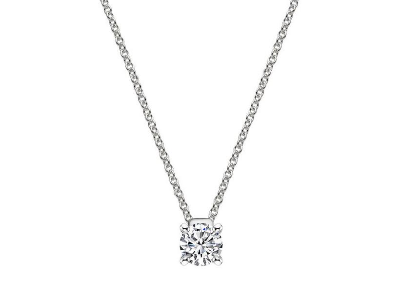 Emerald-cut diamond pendant