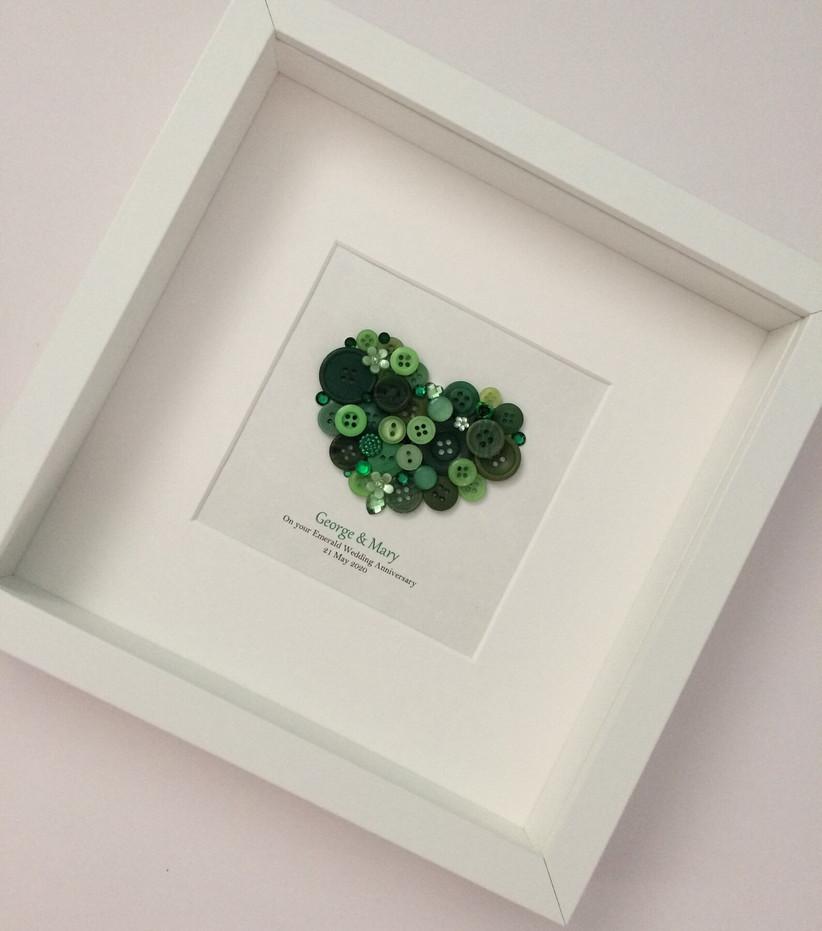 Emerald green button art 55th anniversary gift idea