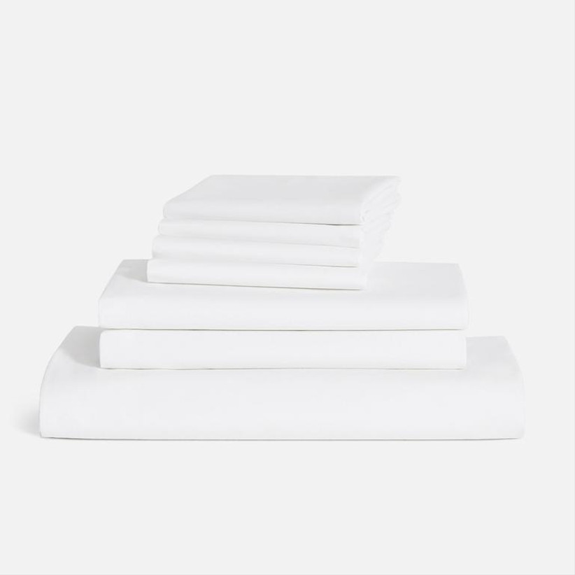 Stack of Brooklinen sheets 35th anniversary gift idea