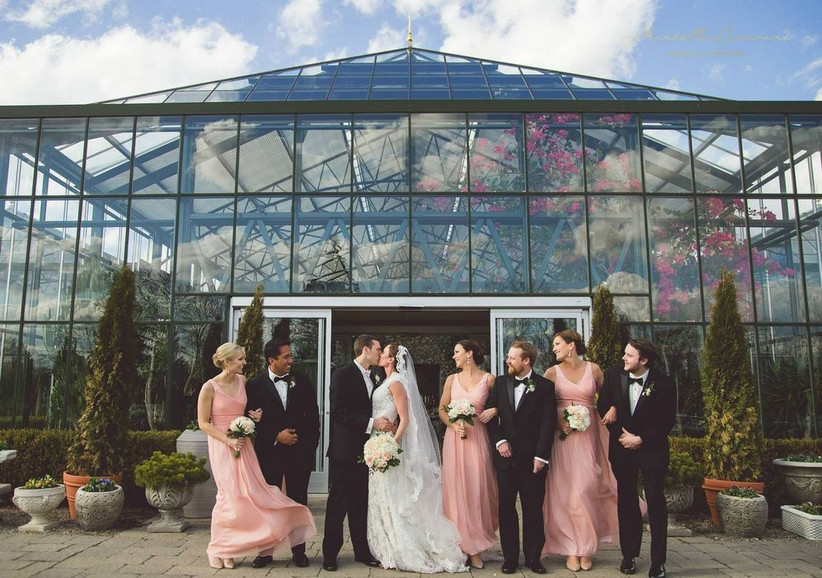 wedding party outside greenhouse venue