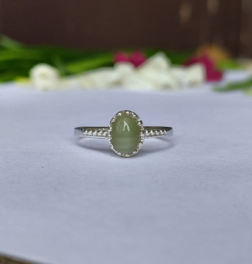 Silver-tone ring with Chrysoberyl stone