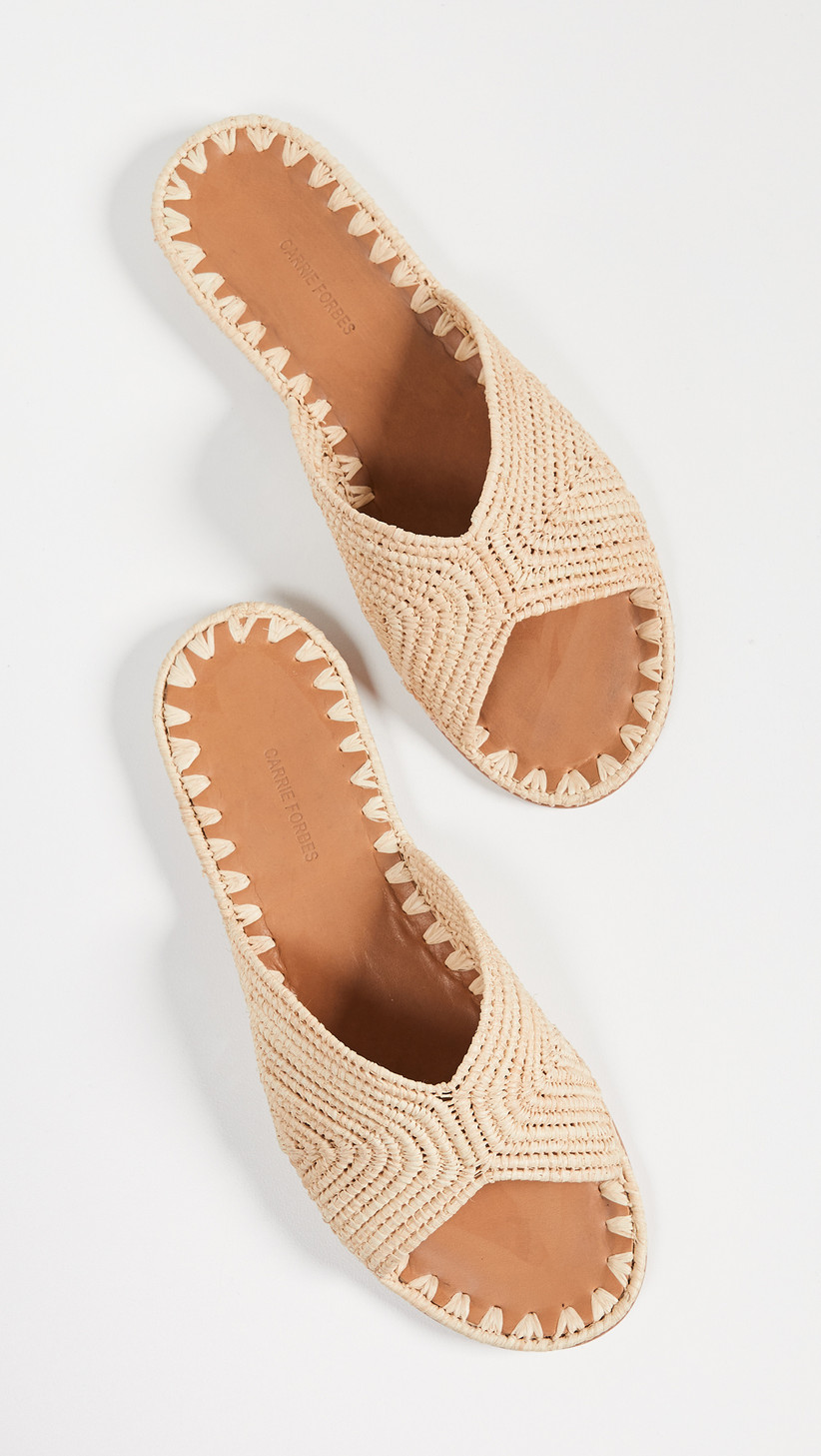 raffia open-toe slide sandals