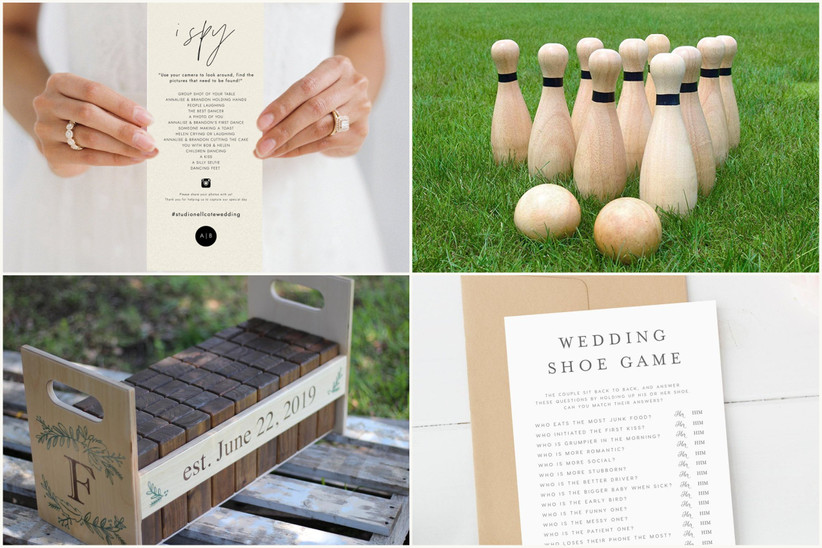 photo collage with wedding I Spy card, lawn bowling, giant dominos, and wedding shoe game card