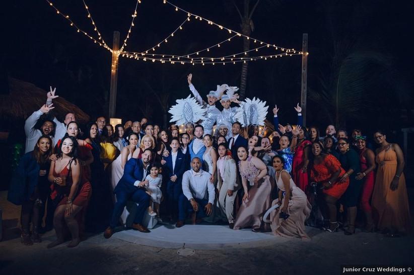 wedding guests on dance floor hora loca