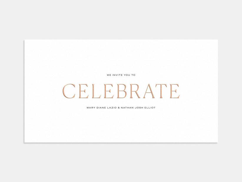 Foil Celebrate affordable wedding invitation