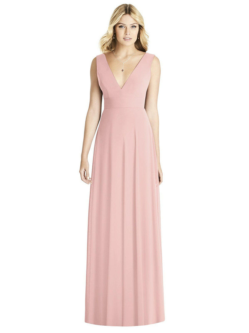 Model wearing V-neck pastel pink bridesmaid gown