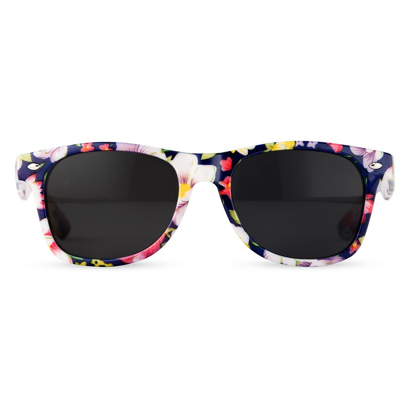 wayfarer sunglasses with navy blue and floral pattern