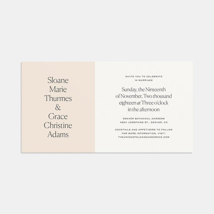 modern spring wedding invitation with beige and cream color block design