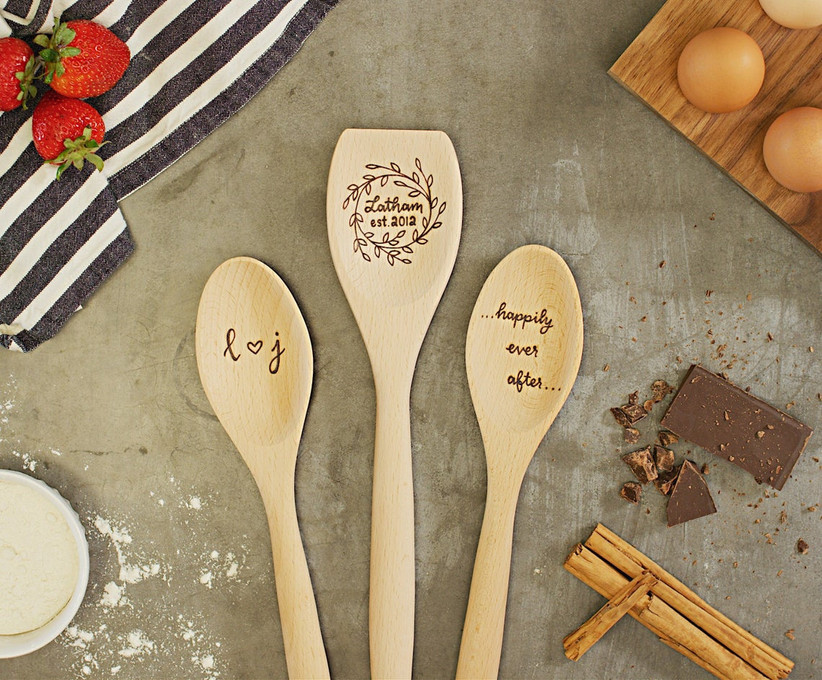 Set of three wooden spoons with couple's surname, initials, and date