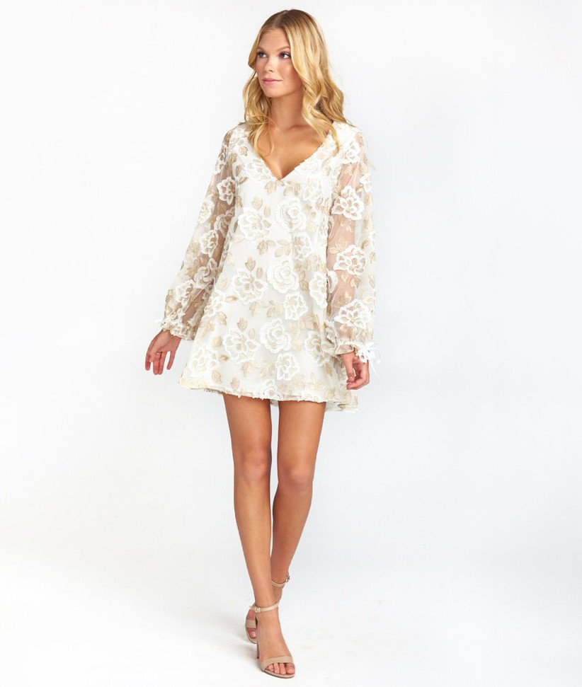 White and gold floral rehearsal dinner dress