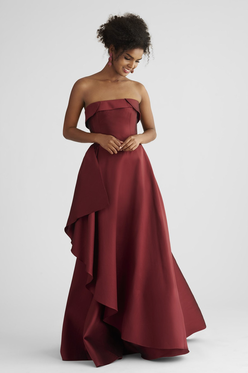 Elegant burgundy formal gown fall wedding guest dress