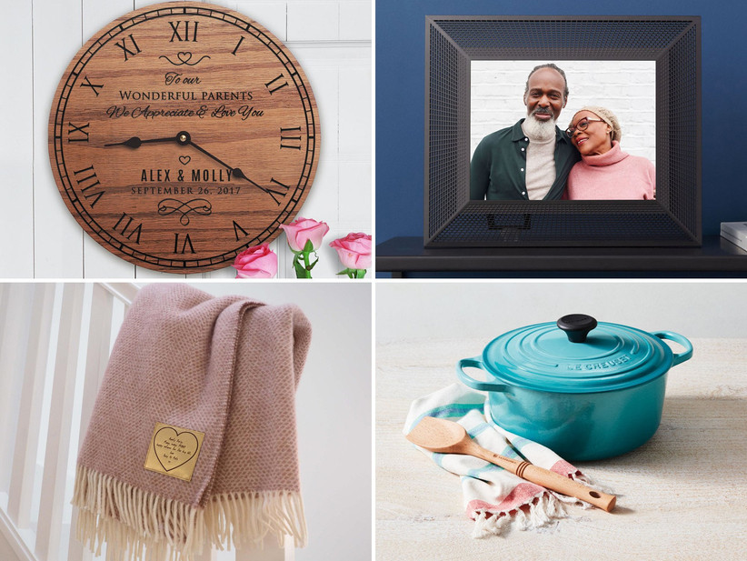 Collage of wedding gifts for parents including a clock, photo frame, throw, and Dutch oven