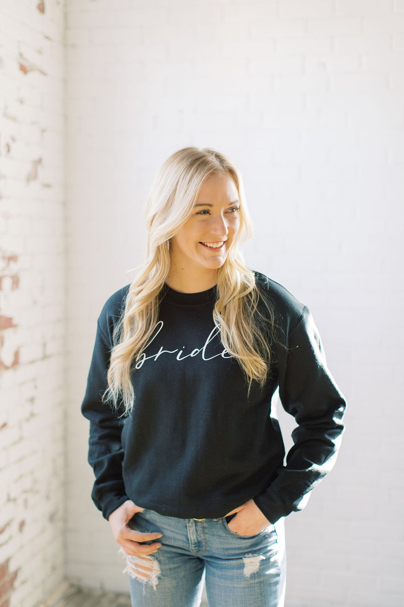 black bride sweatshirt with white font