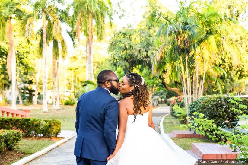Black bride with braids half-up beach wedding hairstyle