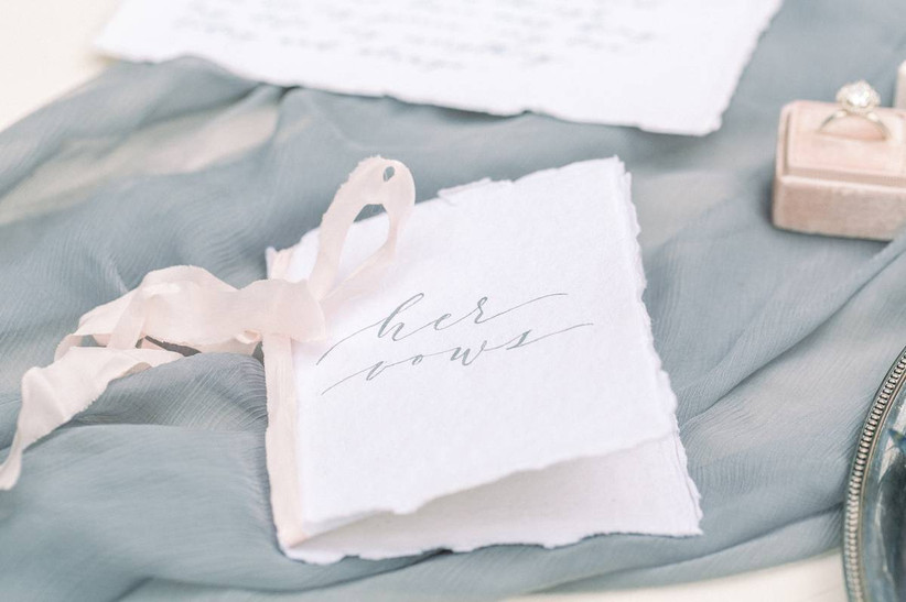 wedding vow book made from raw-edge paper with