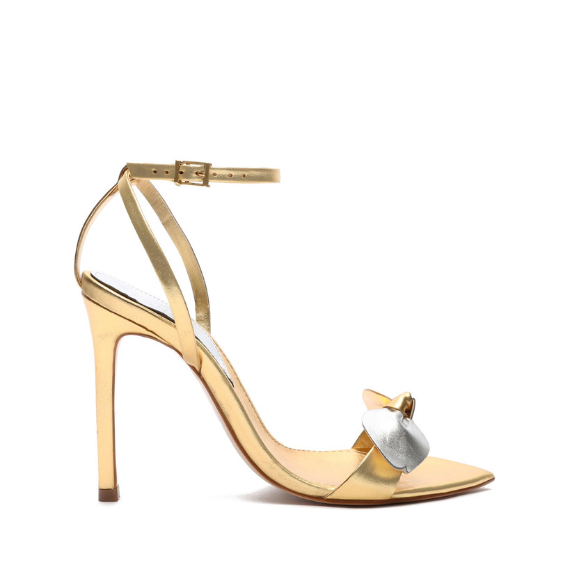 gold stiletto sandal with ankle strap