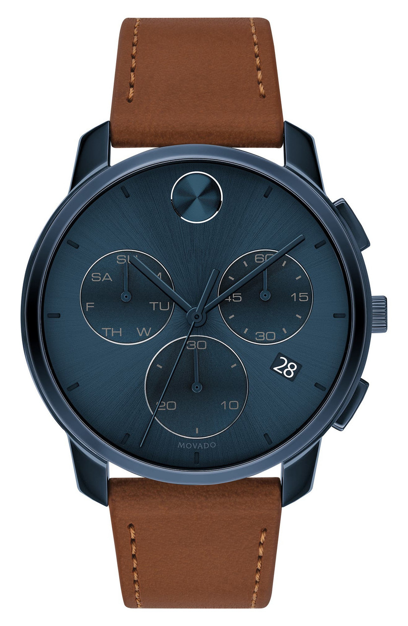 Movado brown leather engagement watch with dark blue dial