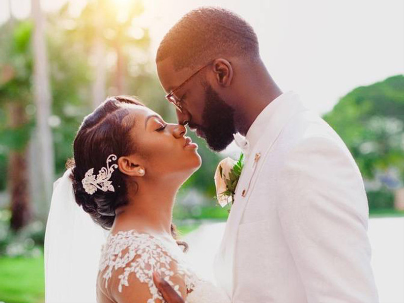 miami black owned wedding businesses couple looking at each other on wedding day