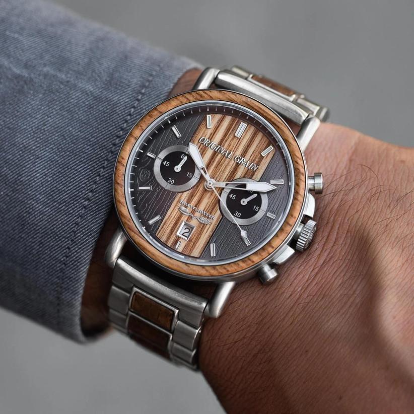 Close up of Original Grain wood and steel watch on man's wrist