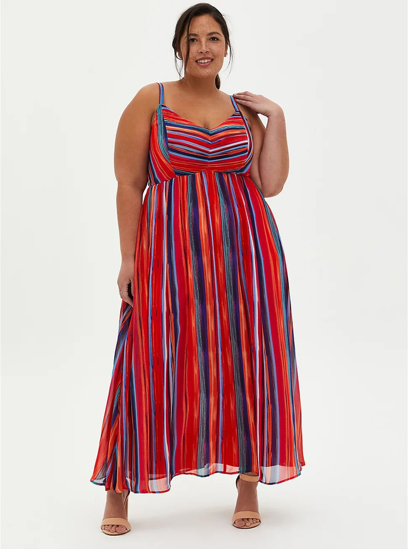 Colorful striped maxi dress for summer wedding