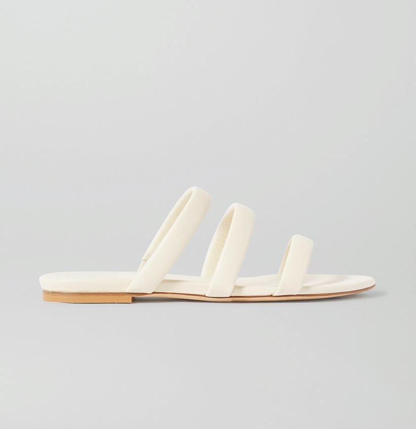 white slip-on beach wedding sandals with three straps