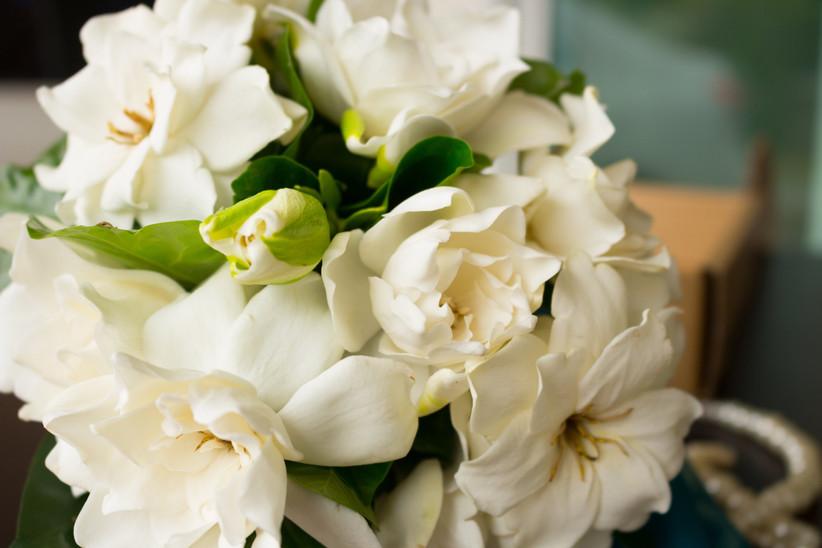 close-up of white gardenia bouquet