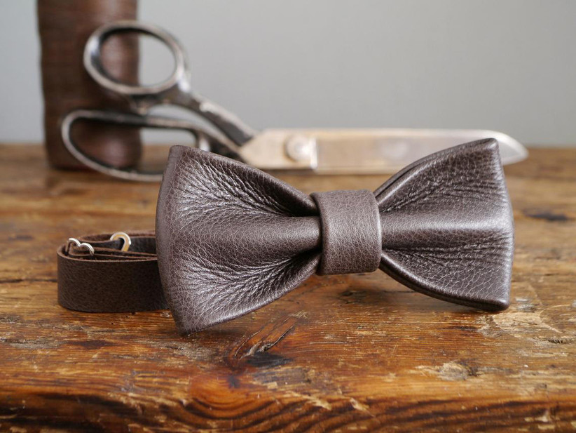 rustic leather wedding bow tie