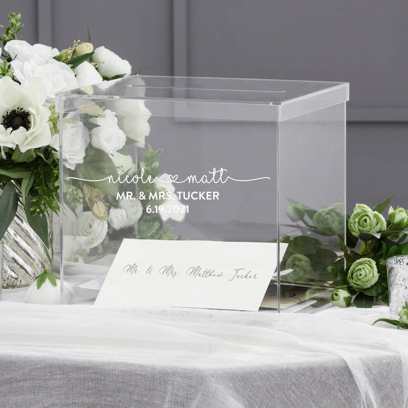 square clear acrylic wedding card box with names and wedding date in white calligraphy