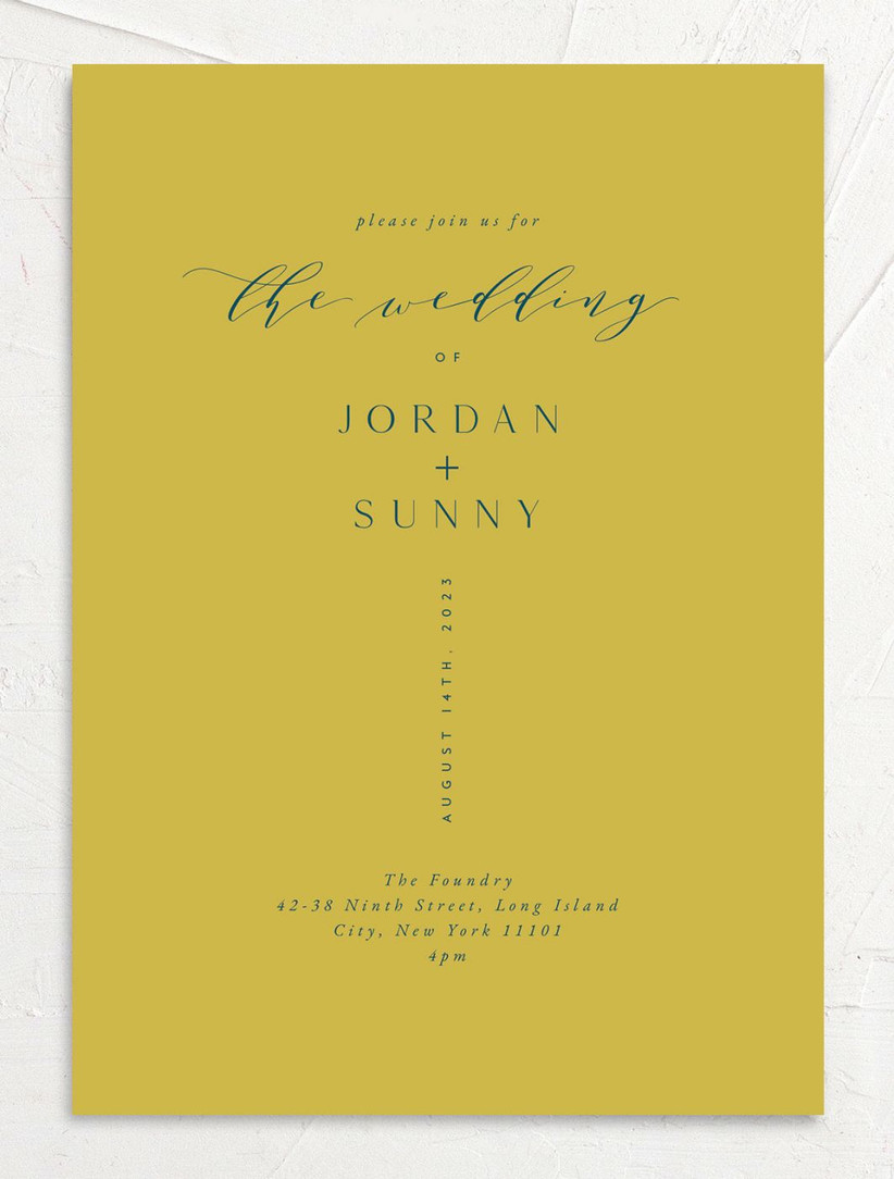 modern summer wedding invitation chartreuse green card with teal text