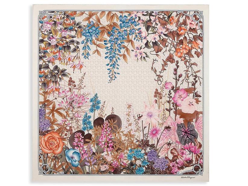 salvatore ferragamo floral silk scarf for 12th year wedding anniversary gift