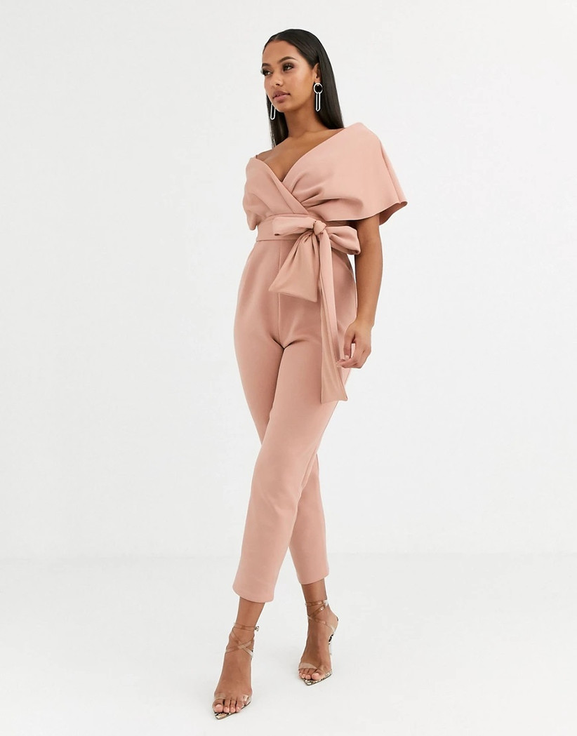 Blush pink rehearsal dinner outfit