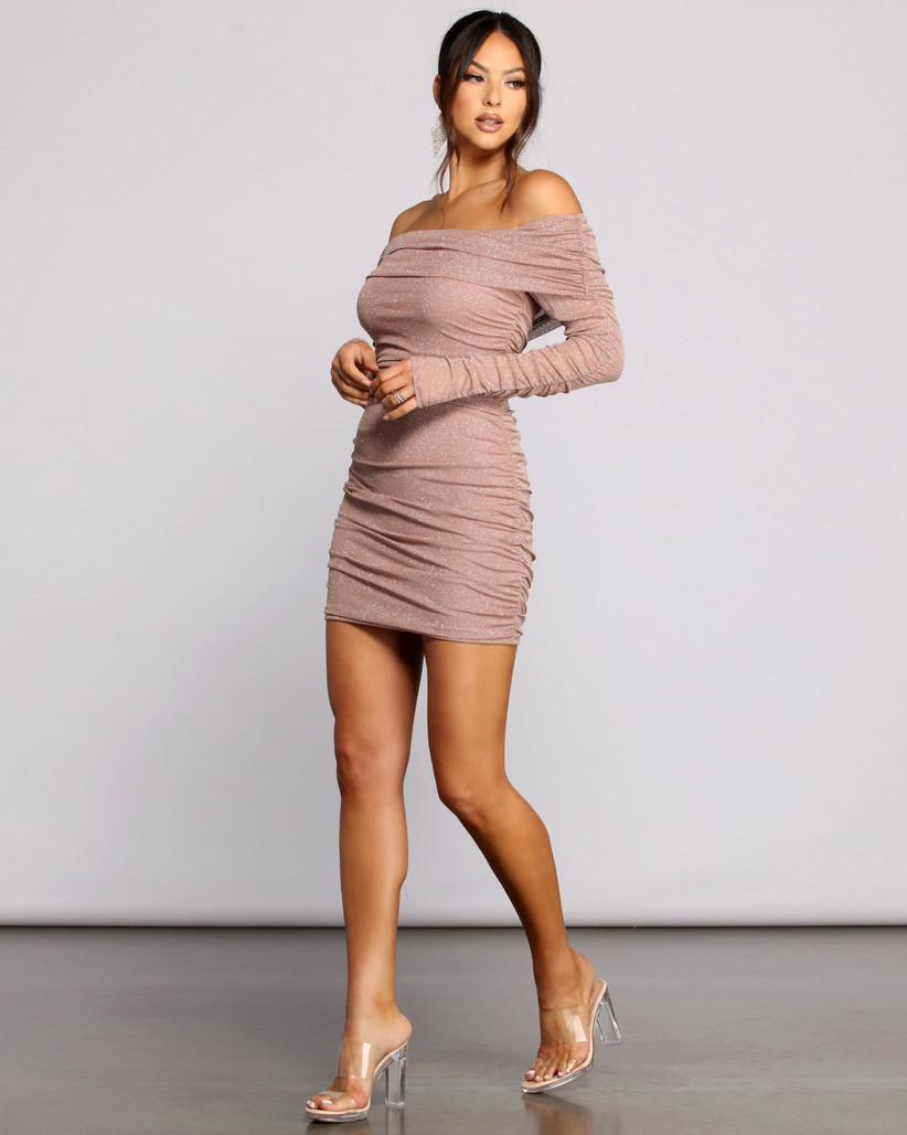 off-the-shoulder bachelorette party dress bodycon style in shimmery mauve color and side ruching