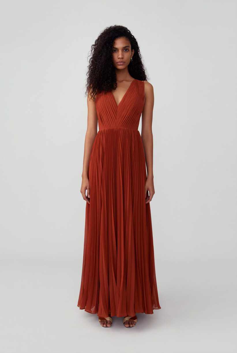 Formal pleated rust-orange maxi fall wedding guest dress