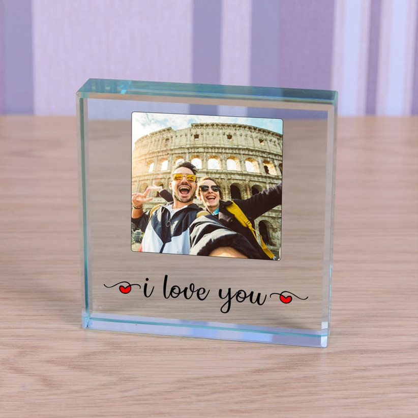 glass picture frame with words i love you