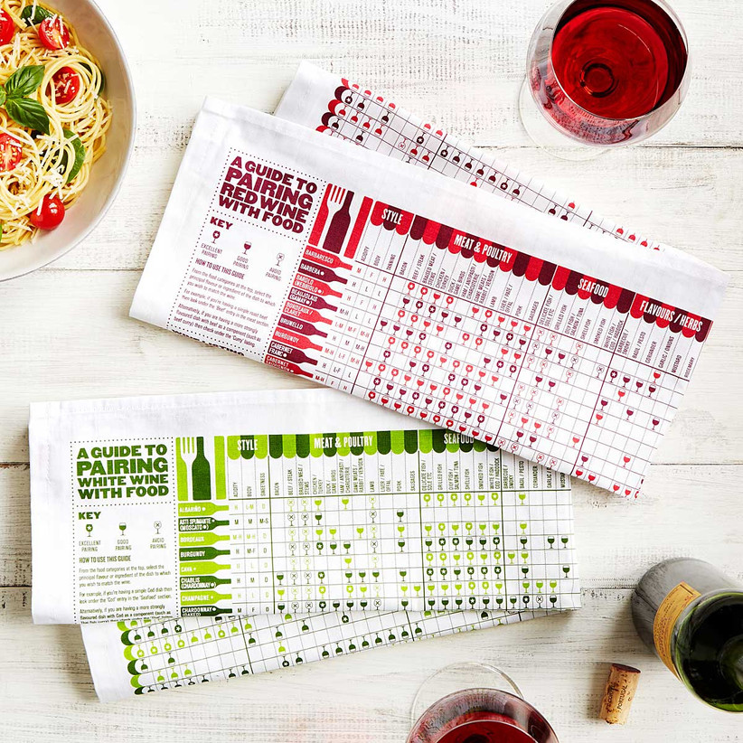 Red and white tea towel and green and white tea towel with respective red and wine wine pairing guides