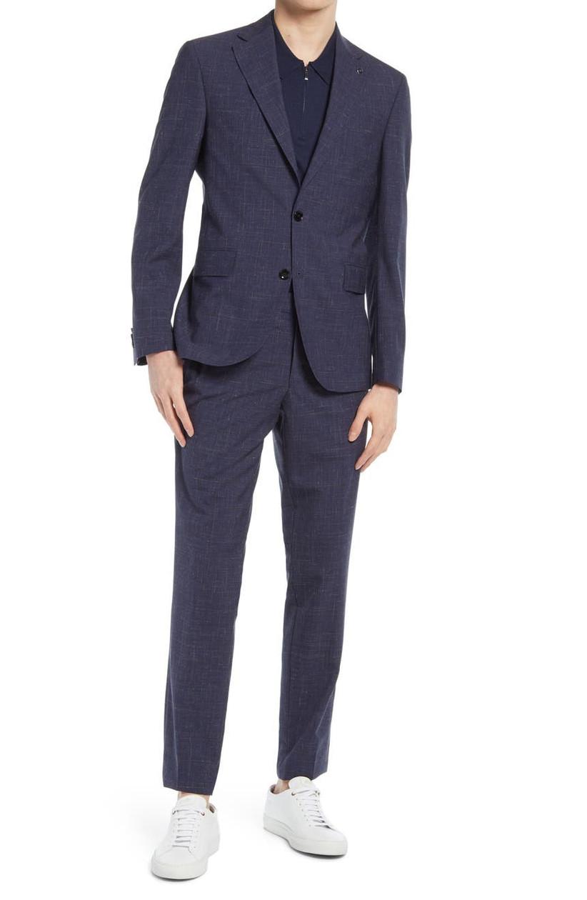 Dark-hued wool-linen blend summer wedding suit