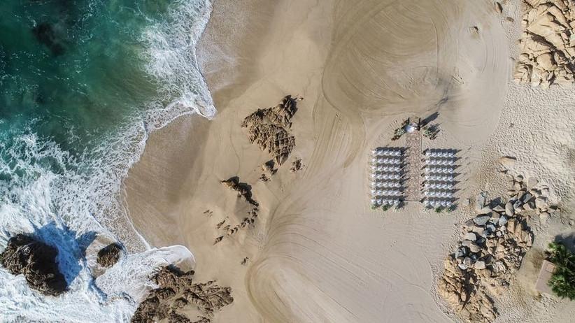 beach wedding drone shot