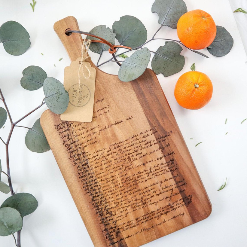 Engraved recipe cutting board mother of the bride gift idea