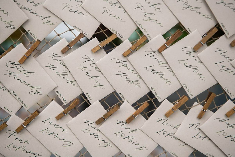 mini envelopes wedding escort cards