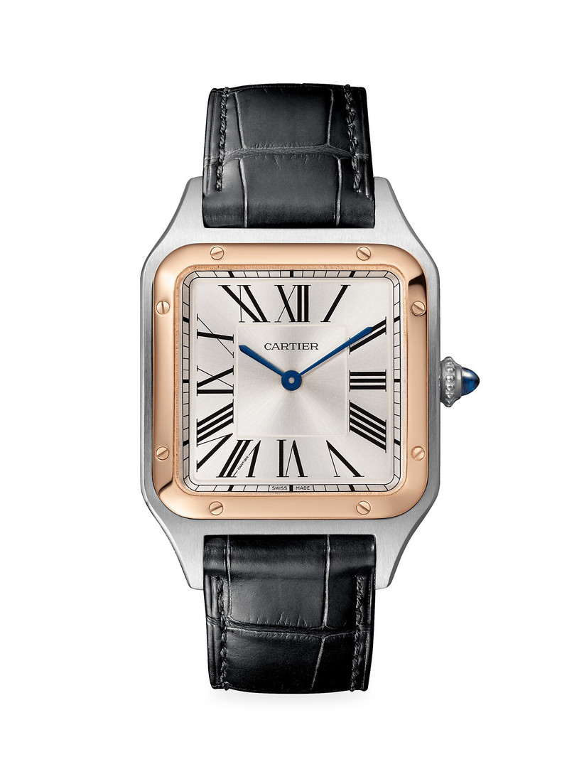 Cartier rose gold bezel engagement watch with leather strap