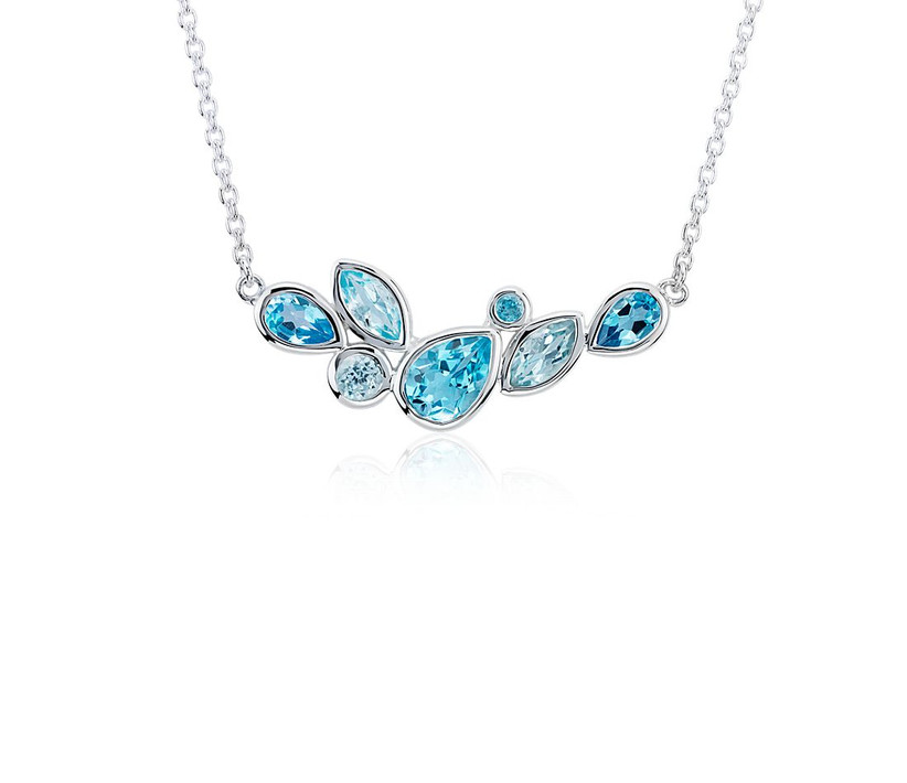 multishape blue topaz stones on a silver chain